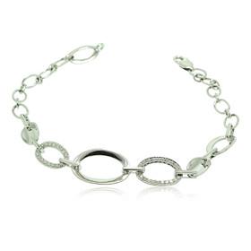 14K White Gold Diamond Graduated Link Bracelet 21000596