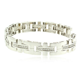 "14K White Gold Diamond 8"" Link Bracelet 21000598"