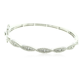 14K White Gold Diamond Criss Cross Fancy Bangle 21000600