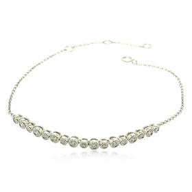 18K White Gold Diamond Flexible Adjustment Bracelet 21000579