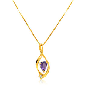 14K Yellow Gold Pear Shape Amethyst Cubic Zirconia Charm 52001934