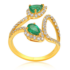 14K Yellow Gold Emerald and Diamond Adjustable Ring