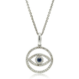 14K White Gold Evil Eye Diamond Charm 51001864