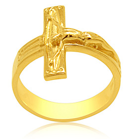 14K  Yellow  Gold Custom Made Cross Ring 10017281