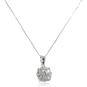 14K White Gold Diamond Illusion Necklace