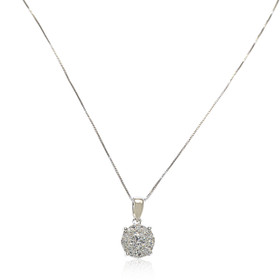 "14K White Gold 18"" Diamond Illusion Necklace"