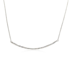 10K White Gold Curved Diamond Bar Necklace
