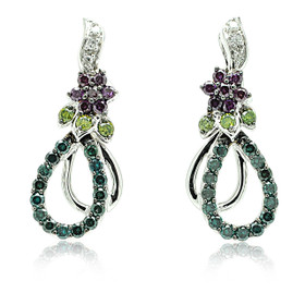 10K White Gold Multi-Color Diamond Hanging Drop Earrings