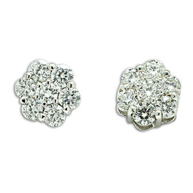 14K White Gold Flower Diamond Stud Post Back Earrings