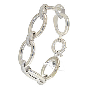 "14K White Gold 8"" Oval Link Diamond Bracelet"