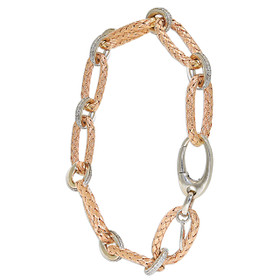 "14K White and Rose Gold 8"" Oval Link Diamond Bracelet"
