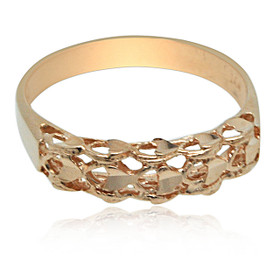14K Rose Gold Diamond Cut Band Ring