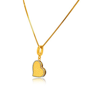14K Yellow Gold Heart Charm Enhancer