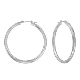 14K White Gold Hoop Earrings 40002445