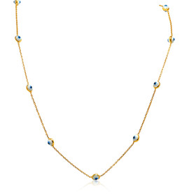 14K Yellow Gold Blue and White Evil Eye Cable Link Necklace
