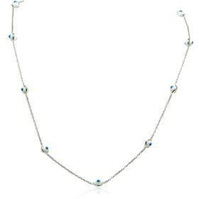 14K White Gold Blue and White Evil Eye Cable Link Necklace
