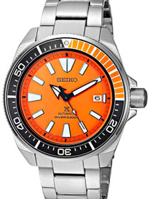 Seiko Men's Prospex Samurai Automatic Orange Dial Stainless Steel Dive Watch - Model: SRPC07