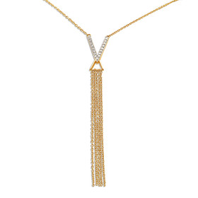 14K Yellow Gold Diamond V Necklace