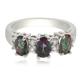 14K White Gold Mystic Topaz Diamond Ring
