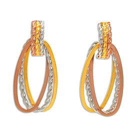 14K Tri-Color Gold Oval Shaped Hanging Earrings 40002430