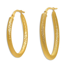 14K Yellow Gold Satin Finish Hoop Earrings 40002437