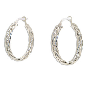 14K White Gold Braided Hoop Earrings