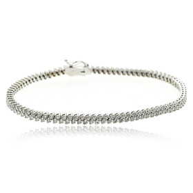 14K White Gold 2 Rows Diamond Bracelet 21000623