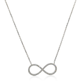"14K White Gold Diamond Infinity 16.5""  Necklace"