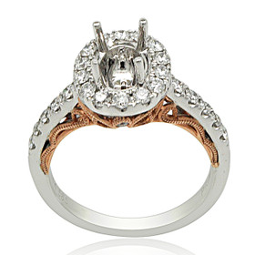 14k  White And Pink Gold Diamond Engagement Ring Oval Halo Settings