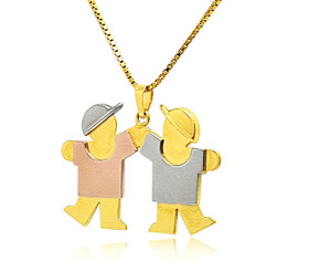 14K Tricolor Gold Two Boys Charm 50003378