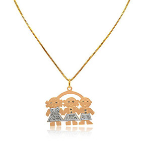 14K White And Yellow Gold Diamond Two boys And girl Charm 50000779