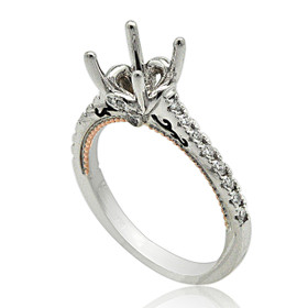 18K White And Pink Gold Diamond Engagement Ring Setting  11005885