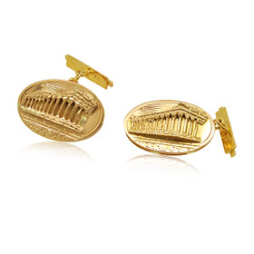 14K Yellow Gold Mens Oval Shape Acropollos Cufflinks  89910082