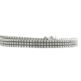 14K White Gold Triple Strand Diamond Tennis Bracelet