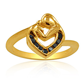 14K Yellow Gold Enhanced Black Diamond Mother and Child Ring