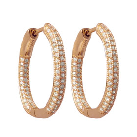 Rose Plated Sterling  Silver Pave CZ Hoops With Hinge Lock 84010592