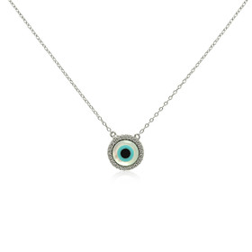 Sterling Silver White Crystal Mother Of Pearl Evil Eye Necklace
