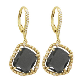 Grey Faceted Sliced Glass Stones With CZ, Gold Plated Sterling Silver Lever Back Earrings