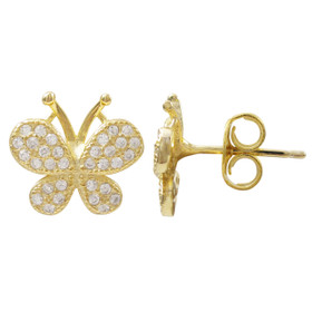 Gold Plated Sterling Silver, CZ Butterfly Post Stud Earrings