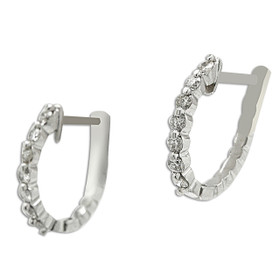 14K White Gold Diamond Huggie Oval Hoop Earrings 41001334