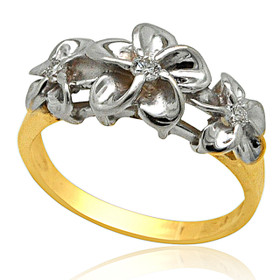 14K White And Yellow Gold Three Flower Diamond Ring 11005949