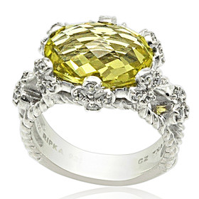 Sterling Silver Synthetic Citrine Stone Ring