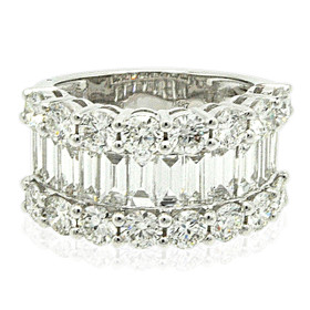 18K White Gold Baguette and Round Diamond Band