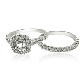 18K White Gold Diamond Engagement Ring Set