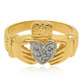 14K Yellow Gold Diamond Claddagh Ring 11001446