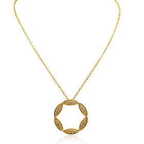 14K Yellow Gold Diamond Fancy Circle Pendant 31000857