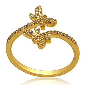 14K Yellow Gold Diamond Butterfly Bypass Ring