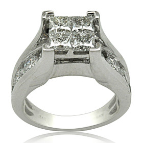 14K White Gold Princess and Round Cut Diamond Engagement Ring