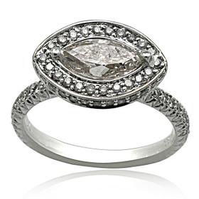 18K White Gold Diamond Engagement Ring 11005931