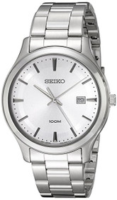 Seiko Silver Dial Stainless Steel Mens Watch SUR047